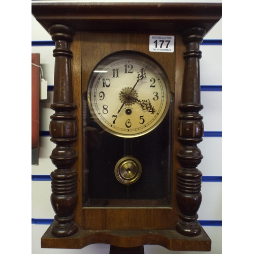 177 - Wood cased wall clock, non runner for spares or repairs...