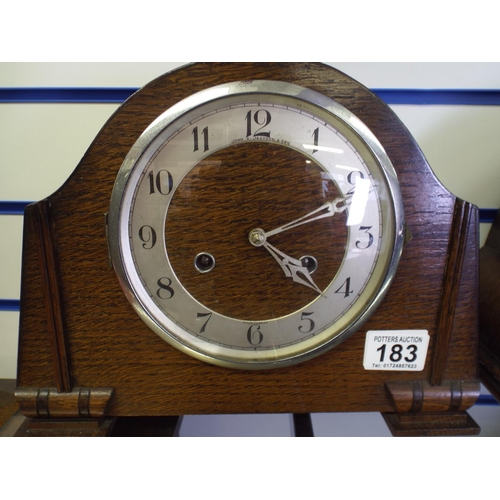 183 - Mantle clock from John Jackson of Scunthorpe. Working order...