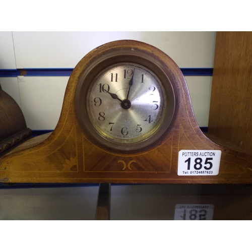 185 - Small inlaid mantle clock in working order...