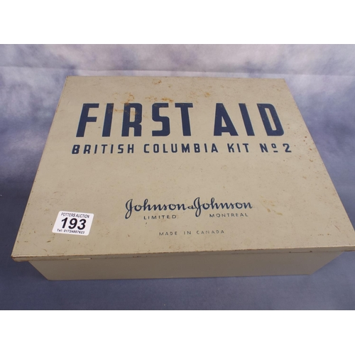 193 - Vintage canadian first aid kit by Johnstone & Johnstone with contents...