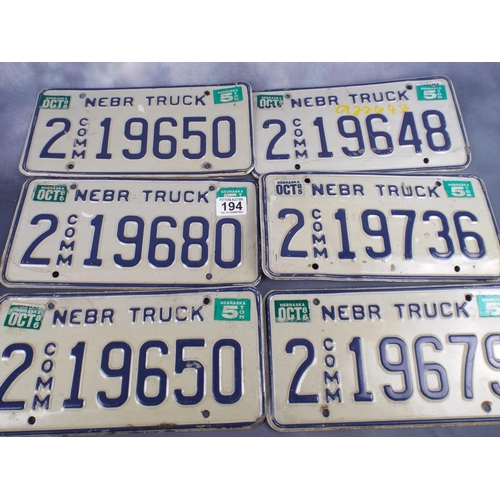 194 - Six american truck numberplates...