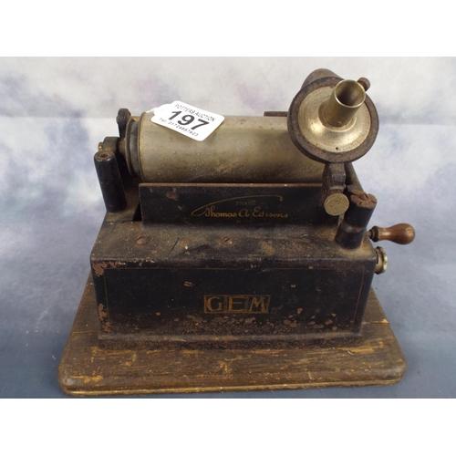 197 - Vintage Thomas Eddison cylinder player on wooden base...