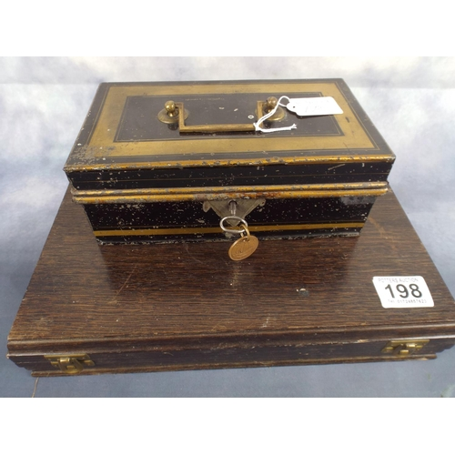 198 - Locking cash box plus useful wooden box with catches...