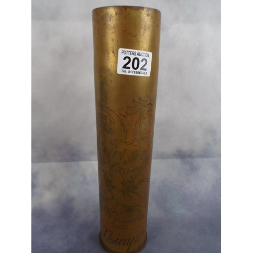202 - French 1917 Brass Artillery shell casing engraved with 'Nieuport'...