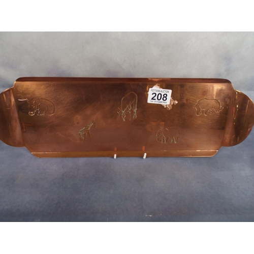 208 - Solid copper tray from Rhodesia with African animals engraved...