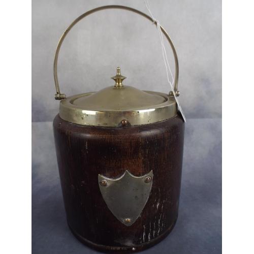 212 - Vintage oak biscuit barrel with EPNS lid & Shield plate to front...
