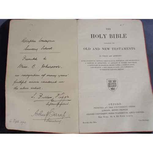 213 - Antique outdoor clergymans bible 1903  Together with Photographic almanac from 1954...