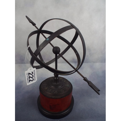 222 - Metal Armillary on wooden plinth...