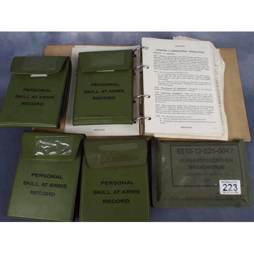 223 - four army skill at arms record pouches along with royal engineers explosives manual & german field d...
