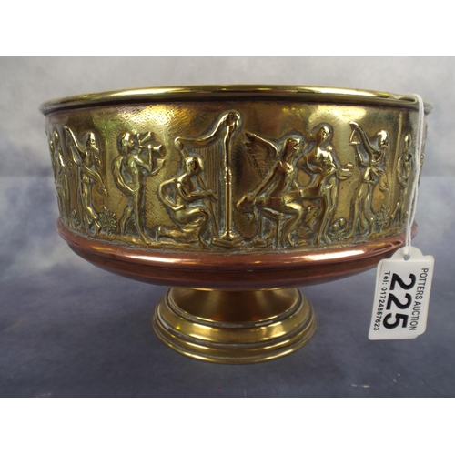225 - Brass & Copper Footed bowl with Classical frieze...