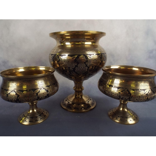 226 - Set of three footed engraved & enamelled brass bowls...