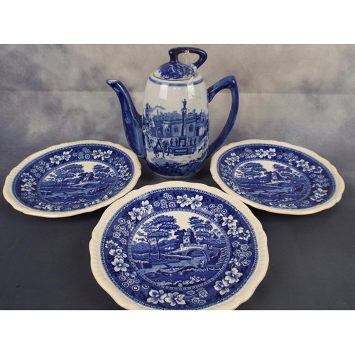 227 - three copeland Spode 'tower' plates plus Blue & White coffee pot...