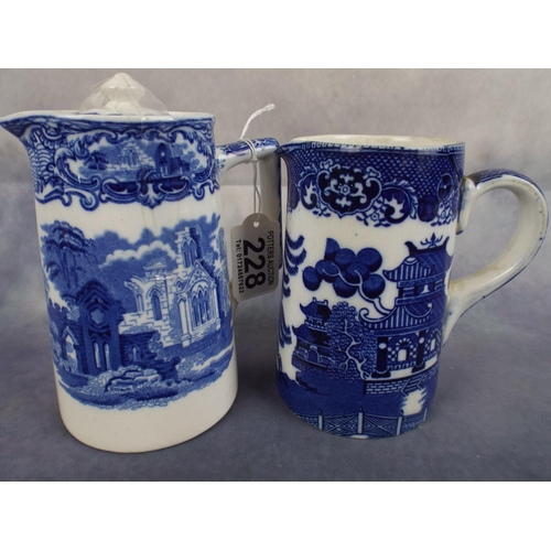228 - Two Blue & White Jugs . One George Jones, one Royal Doulton...