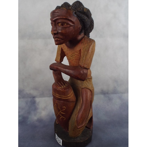 233 - Large carved Carribean drummer figure 17 inches tall....