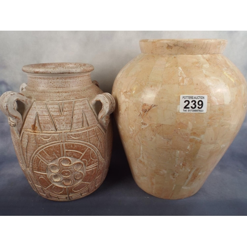 239 - Large balluster vase plus one other....