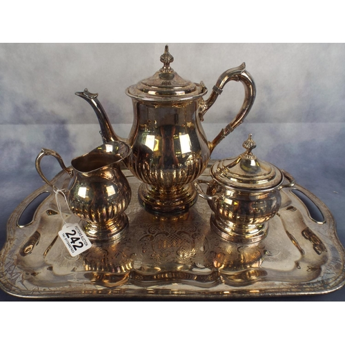 242 - Canadian electroplated silver on Brass Tea set & tray. Teapot A/F Lid...
