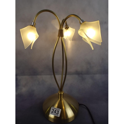 243 - Metal Table Lamp with three snowdrop shades...