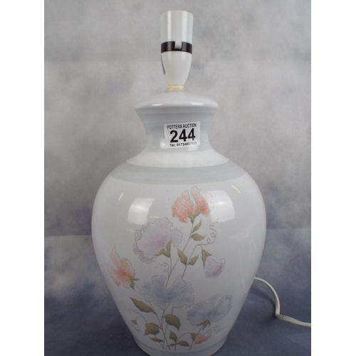 244 - Large Ceramic table lamp with applied flowers...
