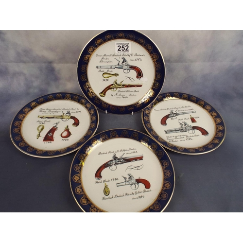 252 - Four ceramic plates by lightwood of birmingham depicting Flintlock Pistols...