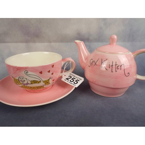 255 - Ceramic single serving teapot, cup & saucer...