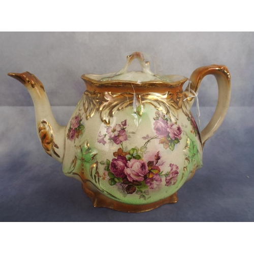 256 - Victorian or Edwardian teapot with applied flowers & gilding...