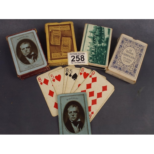 258 - Four packets of vintage playing cards...