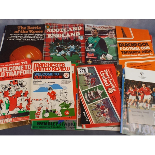 275 - Selection of Football programmes, mostly man utd & internationals...