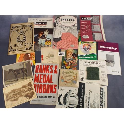 278 - tray of assorted Ephemera, cards, advertising etc...