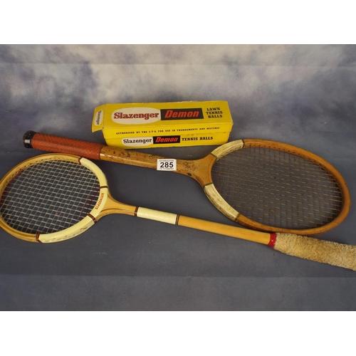 285 - Tennis & Badminton raquets & tennis balls...