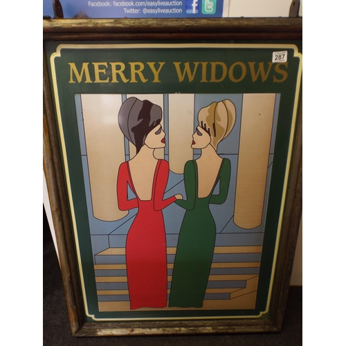 287 - Large Heavy hanging pub sign, 'The Merry Widows' In art Deco Style...