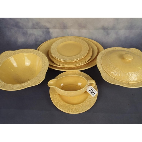 290 - Collection of Clarice cliffe plain coloured dinnerware...
