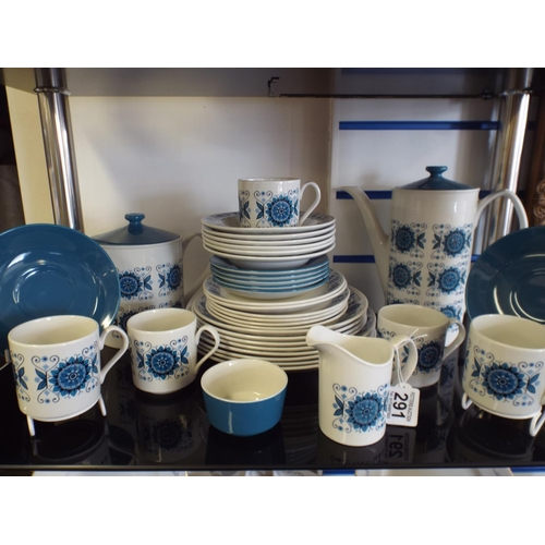 291 - Large Johnstone brothers teaset in blue & white...
