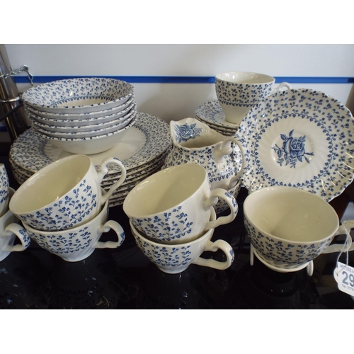 293 - Cups, Saucers & plates. Royal victoria. Rose bouquet pattern...