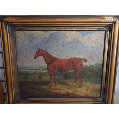 301 - Framed reproduction print of a stubbs type horse in distressed pine frame. 23 X 24 inches...