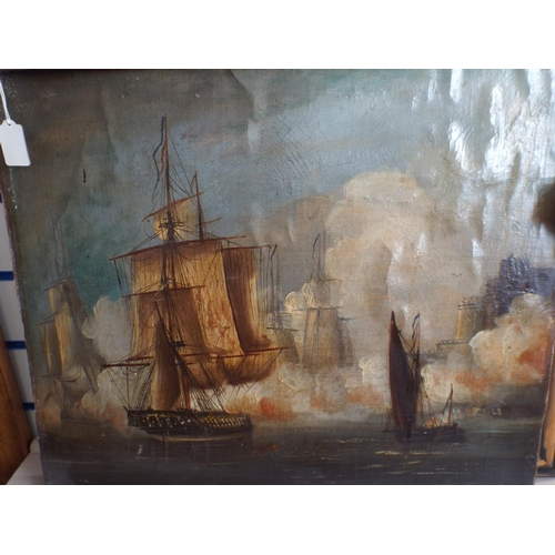 303 - Very old Oil on canvas of fighting ships...