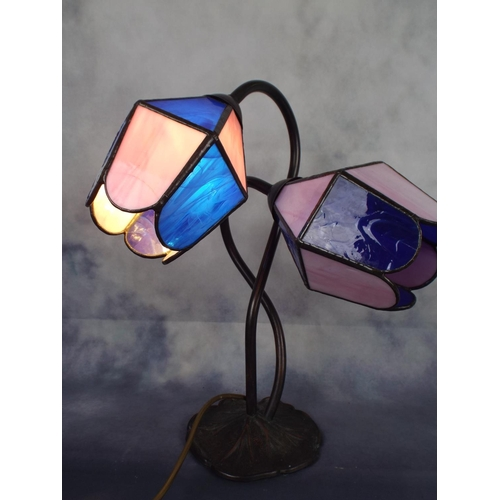 308 - Twin branch table lamp with Blue & pink glass shades...