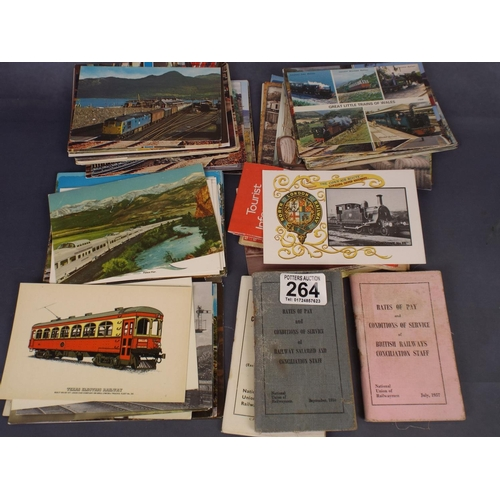 264 - selection of railway postcards together with NUR booklets...