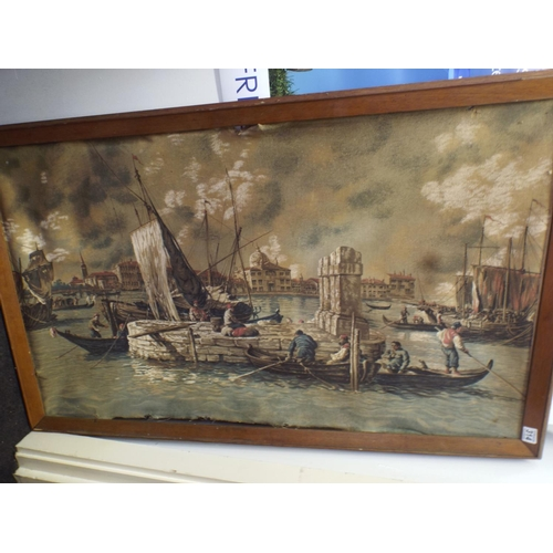 314 - Large Print on canvas depicting harbour scene. Poor condition...