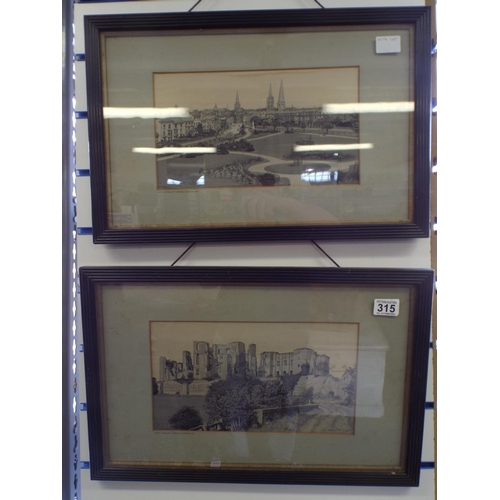 315 - Two framed and mounted prints on silk of coventry & warwick castle...