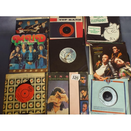 320 - Large tray of Vinyl rock & Pop Singles...