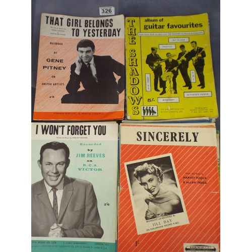 326 - Selection of music sheets, Jim Reeves, Gene Pitney etc....