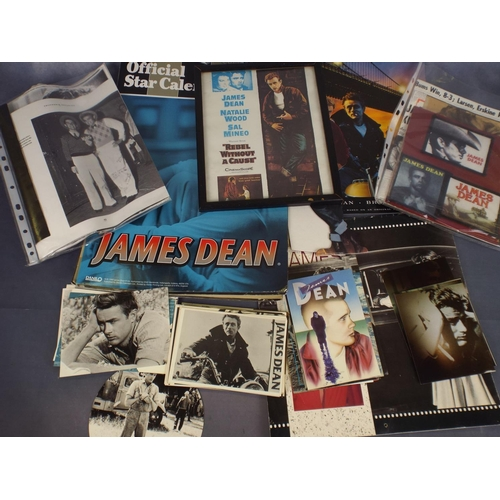 328 - Tray of James Dean photos, postcards & ephemera...