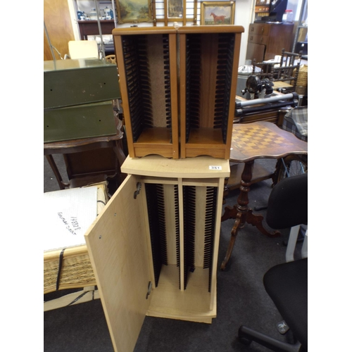 351 - Large stacking cd cabinet with door & 2 smaller as well...