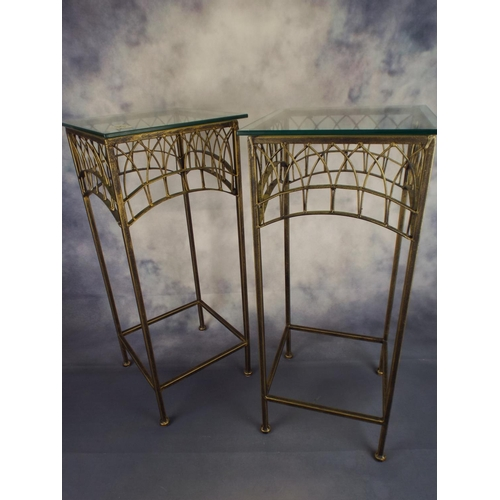 352 - Two ornate glass top occasional tables...