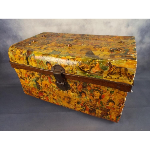 353 - Small vintage metal trunk covered in victorian decoupage...