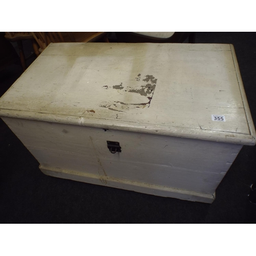 355 - Large vintage pine painted heavy constructed blanket box...