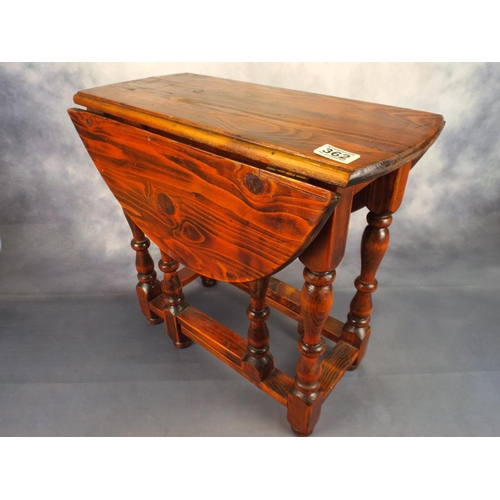 362 - Very small folding leaf table in stained pine...