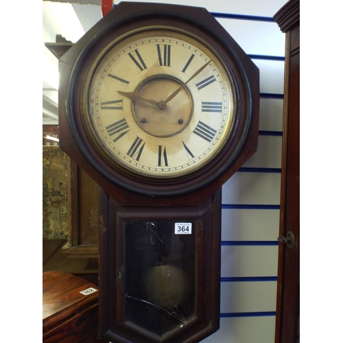 364 - Victorian Ansonia wall clock, working order, requires some attention...