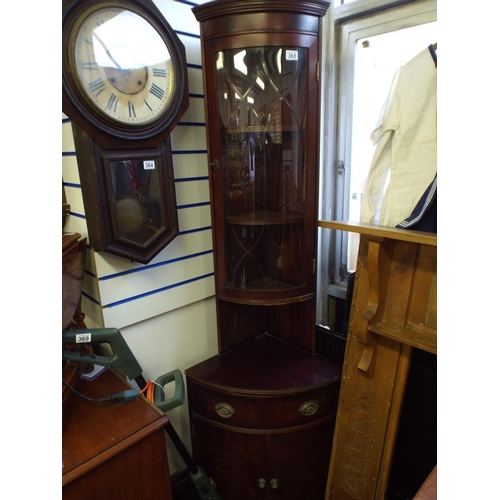 365 - Mahogany veneer corner cabinet with glass case above...