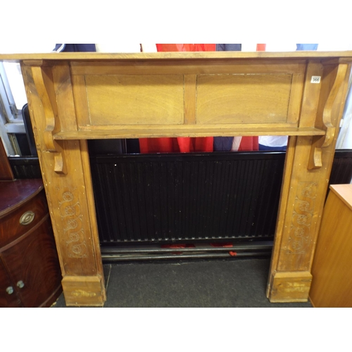 366 - Large vintage oak fire surround with carved slats...